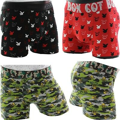 Mens Boxer Shorts Camouflage PlayBoy Underwear Comfort Fit Elasticated Waistband Playboy Shorts