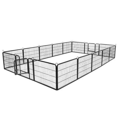 Detachable 16 Panel Dog Kennel Exercise Playpen Multiple Shape Safe For Pet 24″ Dog Supplies