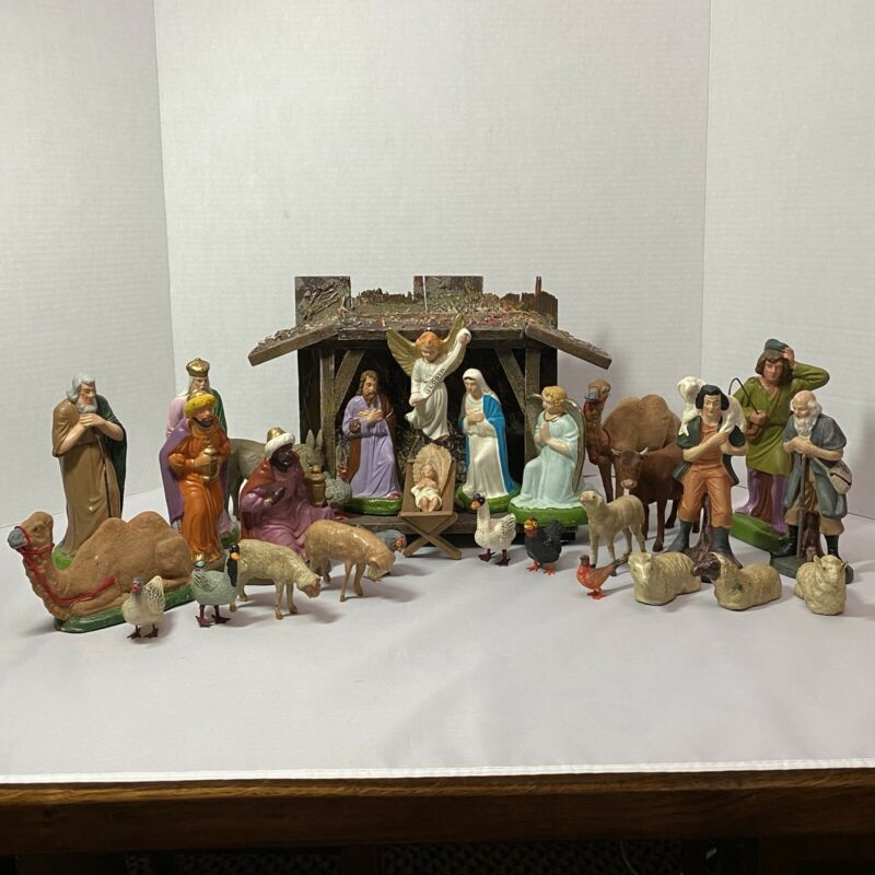 Vintage Early German Nativity Set w/28 Figures & Wooden Creche, Papier Mache