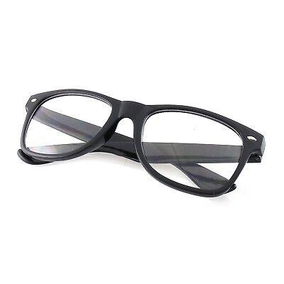 MENS WOMENS NERD BLACK GEEK GLASSES GLOSSY CLEAR LENS Clear frame sunglasses (Black Geek Glasses)