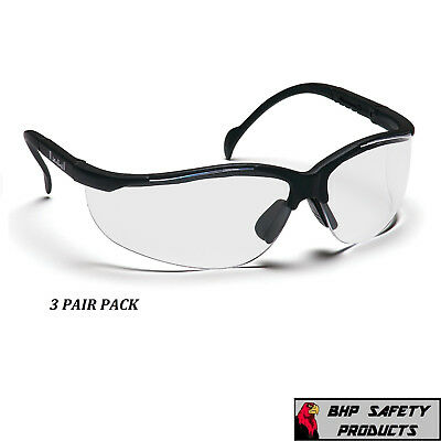 PYRAMEX VENTURE II SAFETY GLASSES CLEAR LENS SB1810S SPORT WORK EYEWEAR (3 PAIR)