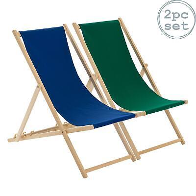 Wooden Deck Chair Folding Garden Beach Seaside Deckchair Navy Green Set of 2
