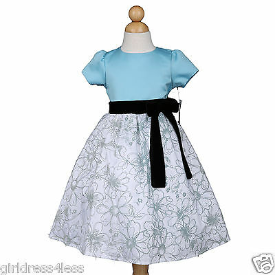 New Mint Tiffany Blue Easter Party Holiday Flower Girl Dress Sleeves 3/4 5/6 7/8 - Girls Tiffany Blue Dress