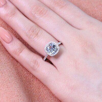 2Ct Cushion Cut Aquamarine Brilliant Halo Engagement Ring 14K White Gold Finish ()