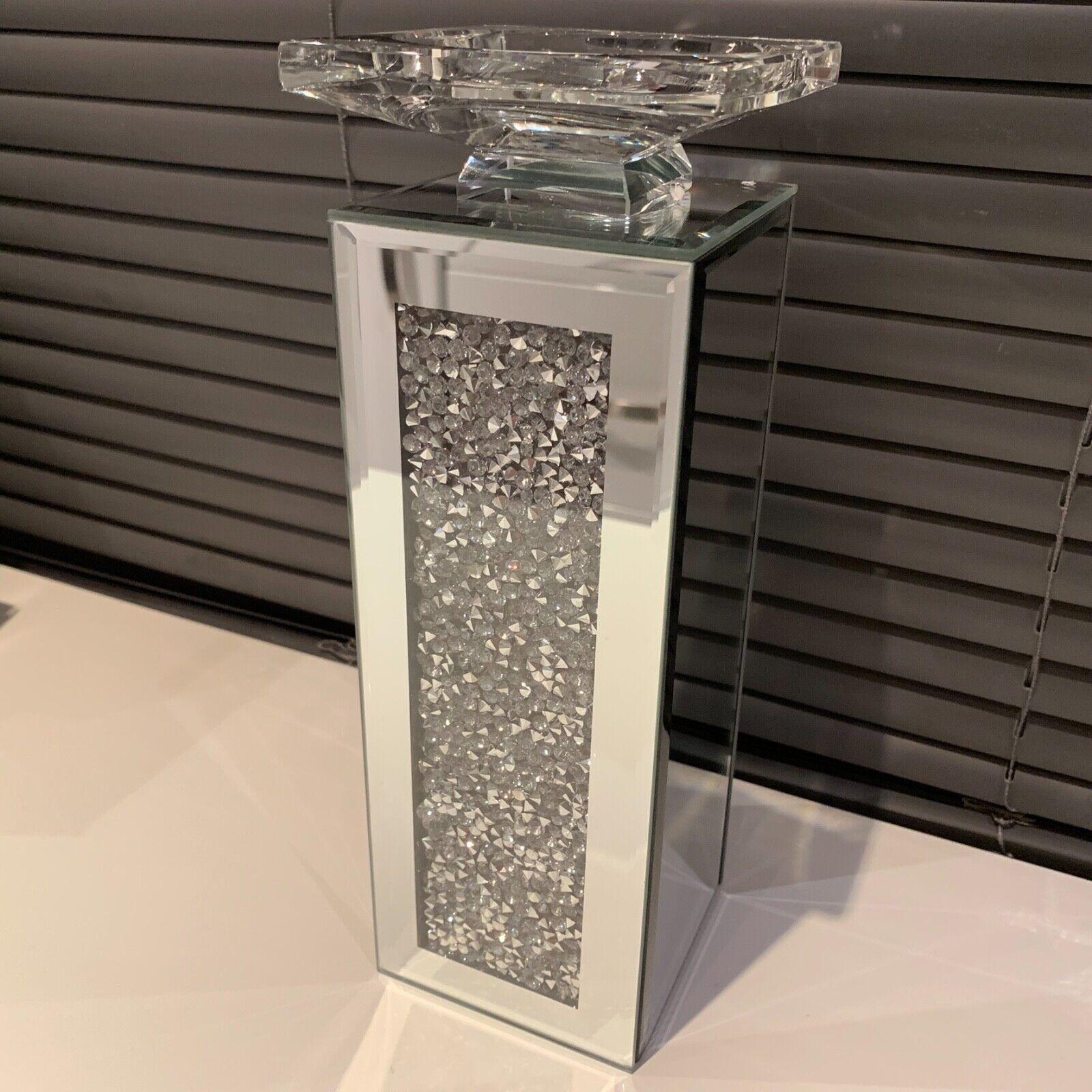 Crush Diamante mirrored pillar Candle Holder jewel mirror ta
