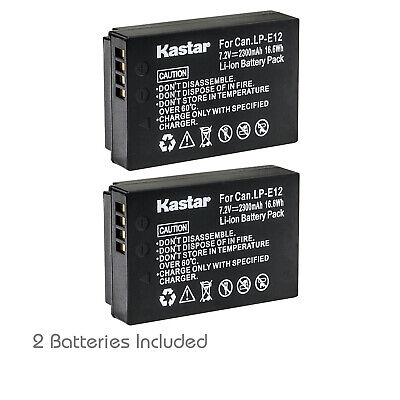 Kastar 2 Battery for Canon EOS M M2 M10 M50 M100 100D Rebel SL1 Kiss X7 LP-E12