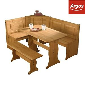 Corner table bench ebay home puerto rico 3 corner bench nook table and bench set pine from argos watchthetrailerfo