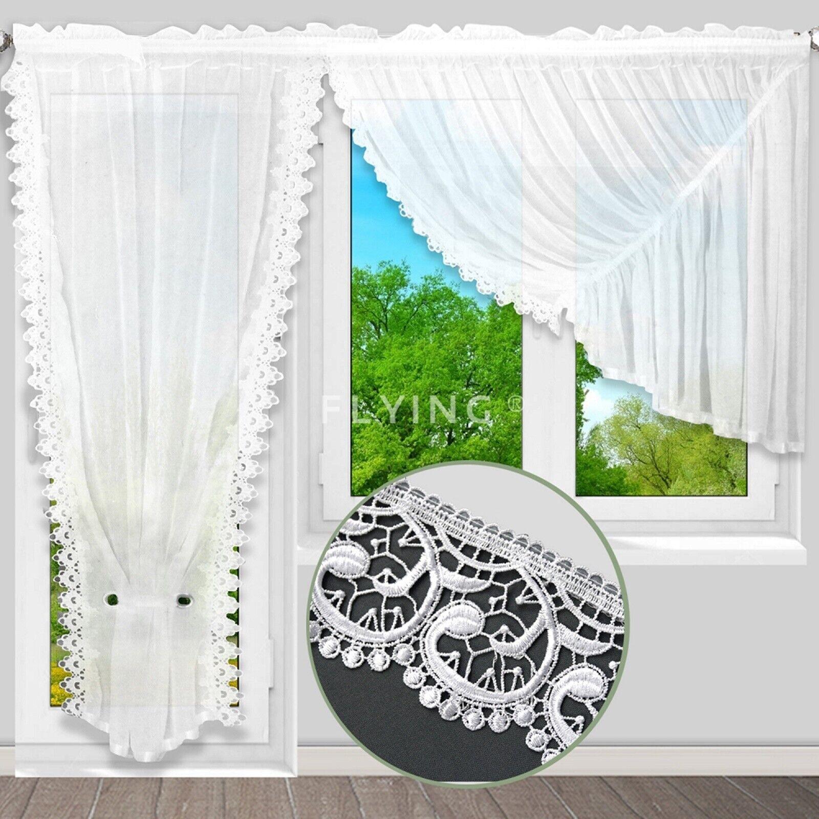 Balkon Balkontür Gardine 500/250 Store Gipüre Voile Fenstergardine Feriggardine