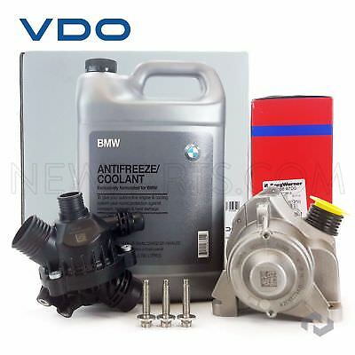 OEM Electric Engine Water Pump + Bolts + OEM Thermostat BMW Antifreeze Coolant