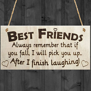 BEST FRIEND - I Will Pick You Up After I Finish Laughing! Friendship Gift Plaque