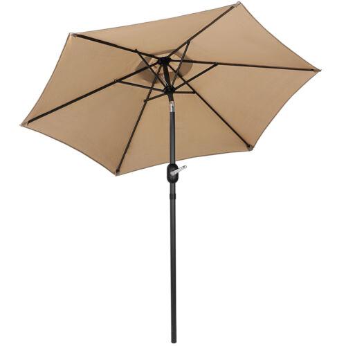 7.5FT Deluxe Patio 6 Ribs Umbrella with Push Button Tilt and Crank Garden Structures & Shade