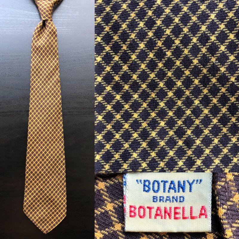 Botany 'Botanella' Brown & Yellow Checked Tie EUC VTG Viyella Wool Cotton 1950s