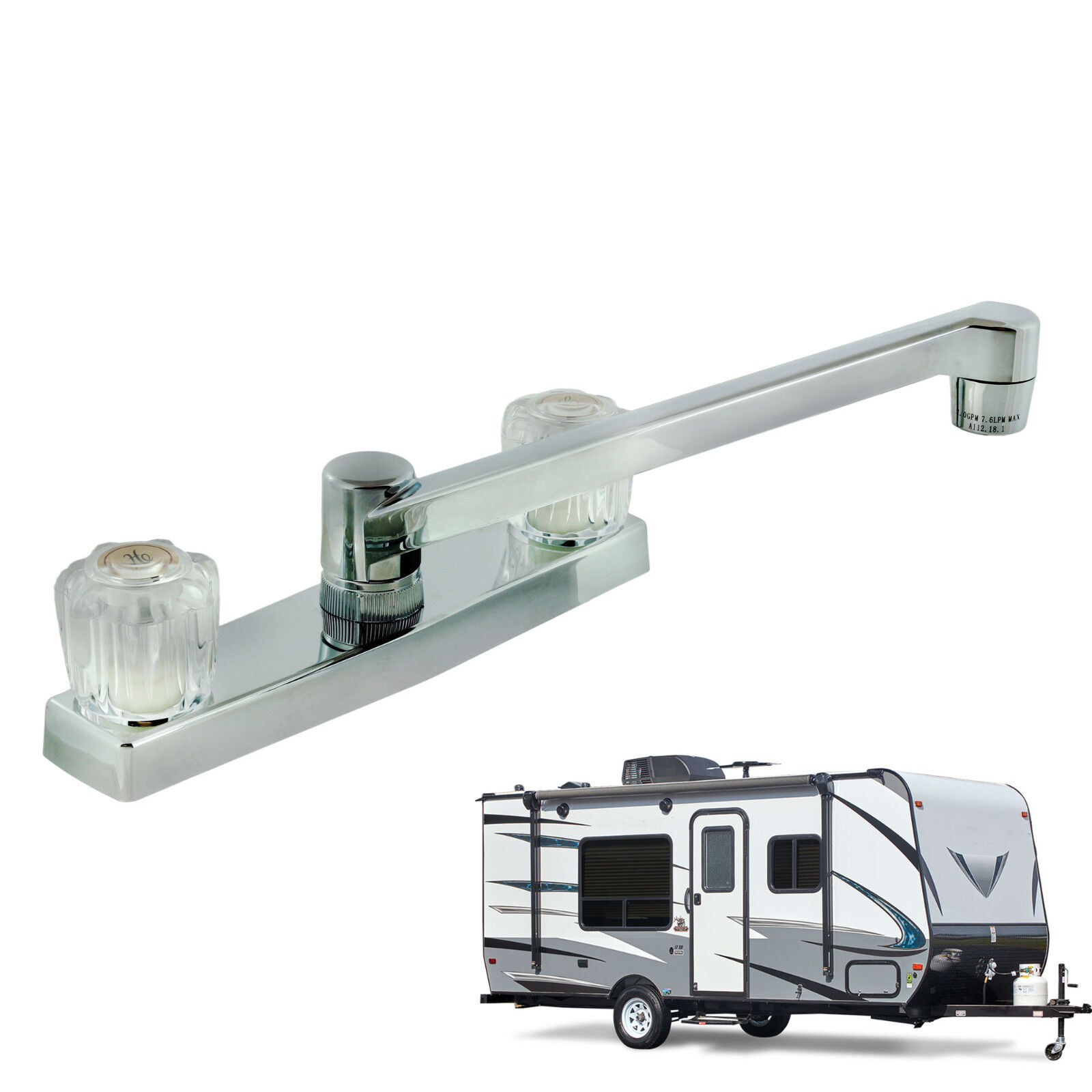 Two Handle RV Kitchen Faucet with Crystal Acrylic Knobs, Polished Chrome Finish eBay Motors