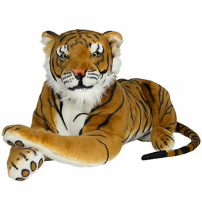 Large Tiger Orange Plush Animal Realistic Big Cat Bengal Soft Stuffed Toy Pillow Bengal Tiger Stuffed Animal