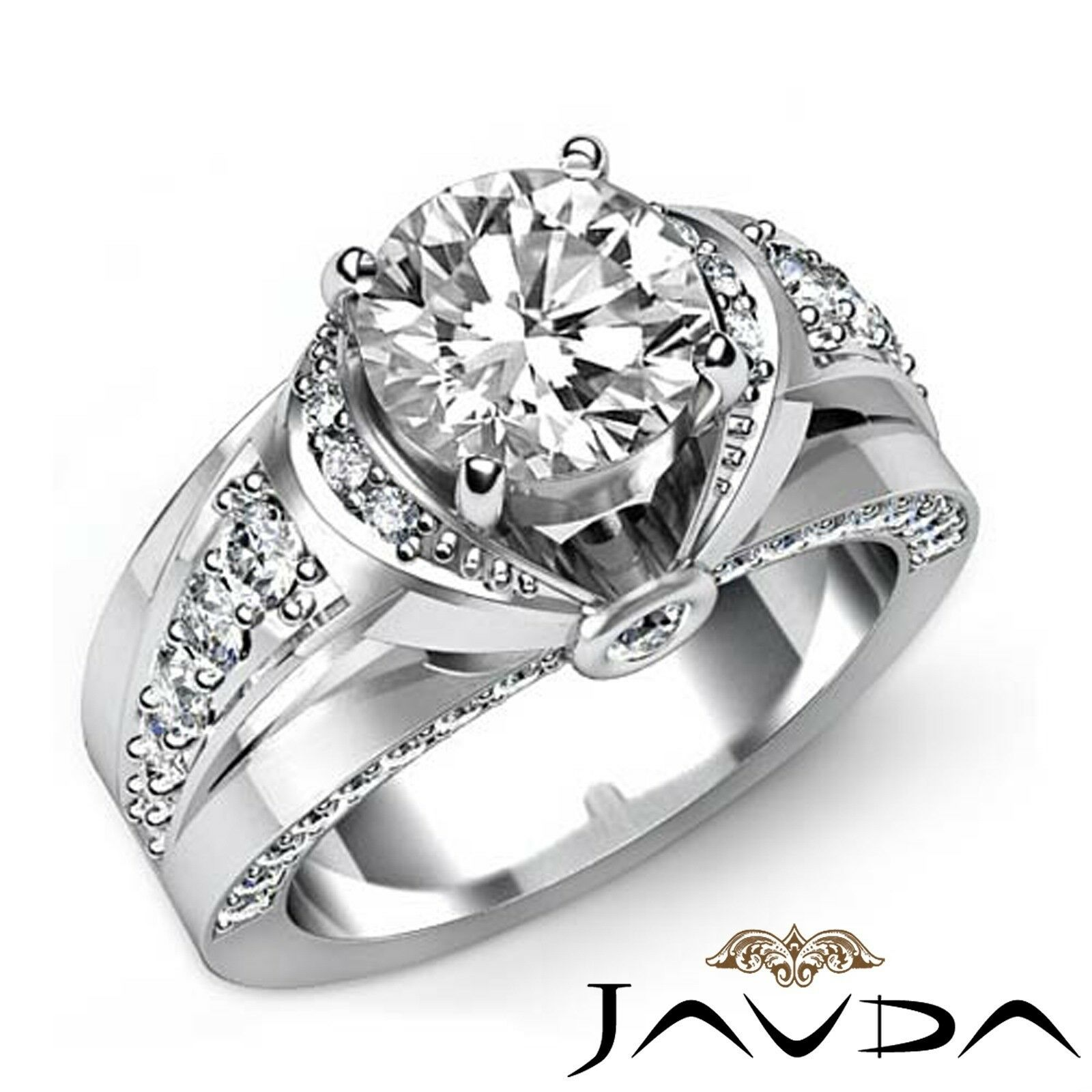 2.91ct Knot Classic Sidestone Round Diamond Engagement Ring GIA E-VS1 White Gold