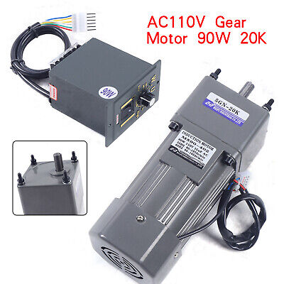 90w 110v Gear Motor Electric Variable Speed Controller Torque Large 15 270rpm