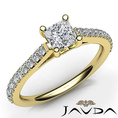French V Pave Cathedral Princess Diamond Engagement Wedding Ring GIA F SI1 0.8Ct