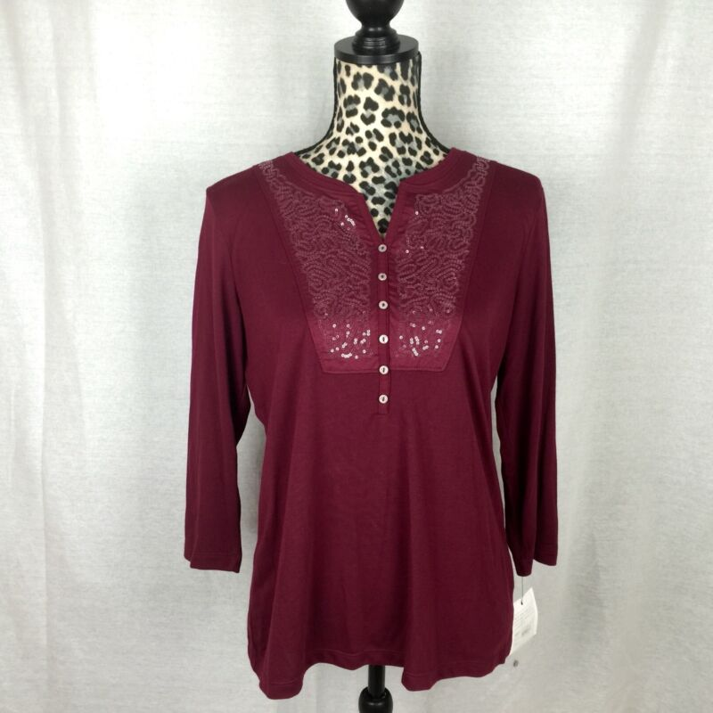CROFT & BARROW WINE LONG SLEEVE SHIRT Top Blouse Size MEDIUM NWT