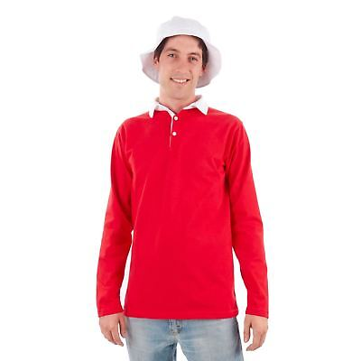 Mens Island Castaway Gilligan Red Rugby Polo Long Shirt White Bucket Hat Costume - Island Costumes