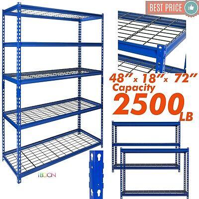 Heavy Duty Metal Muscle Rack Wire Shelving Storage 48w X 18d X 72h 5 Shelves