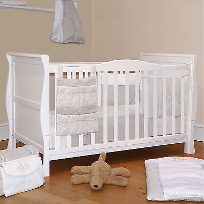 4BABY 3 IN 1 WHITE SLEIGH COT BED & BABY COTBED WITH FOAM SAFETY MATTRESS