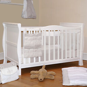 4BABY 3 IN 1 WHITE SLEIGH COT BED & BABY COTBED FIBRE SAFETY MATTRESS