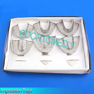6pcs Full Stainless Steel Dental Impression Trays New