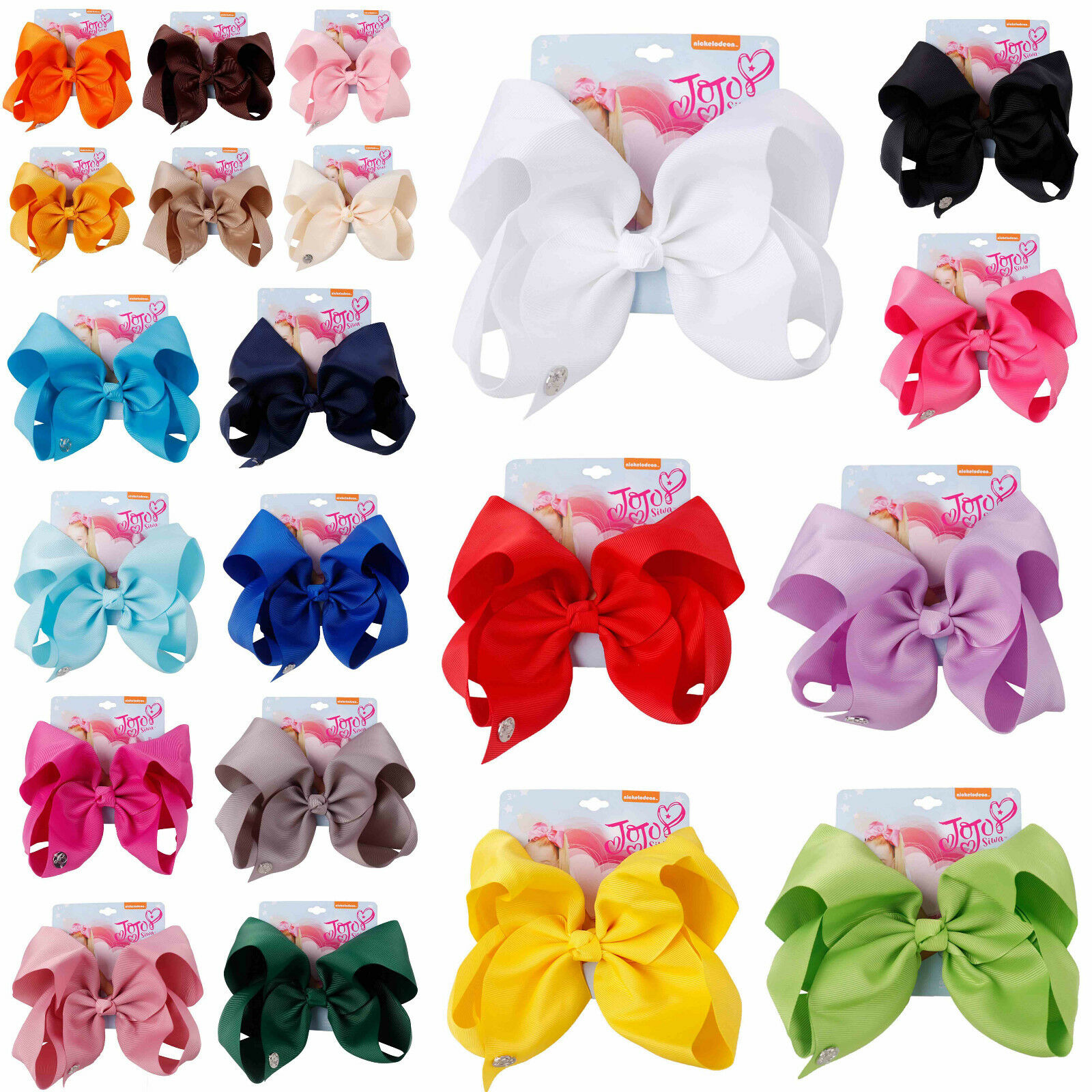 New JoJo Siwa 8 Inch Pure Color Hair Bow With Alligator Clip Girl Kids Bowknot