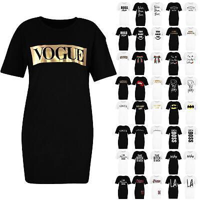 Womens Short Sleeve Slogan Print Boyfriend Longline T-Shirt Dress Oversized Top