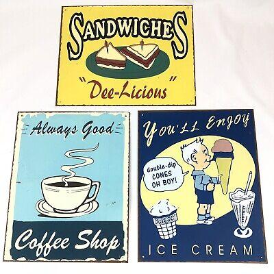 Lot Of Three Metal Tin Signs Vintage Diner Decor 8x10 Coffee Ice Cream Sandwich