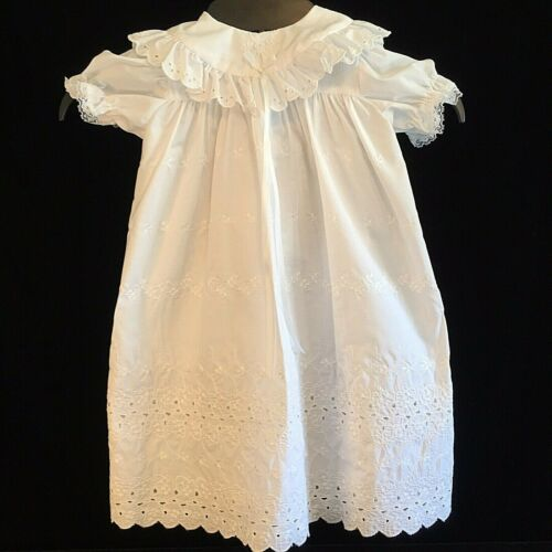 Vintage MADONNA 4 Pc Baptism Gown Size 0-6 White Baby Christening Dress Eyelet