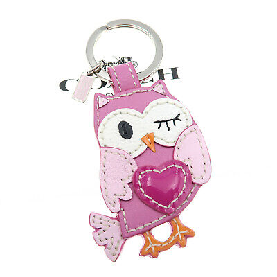 Coach Owl Keychain Love Heart Pink Bird Leather Key ring Fob Bag Charm 93095 NEW