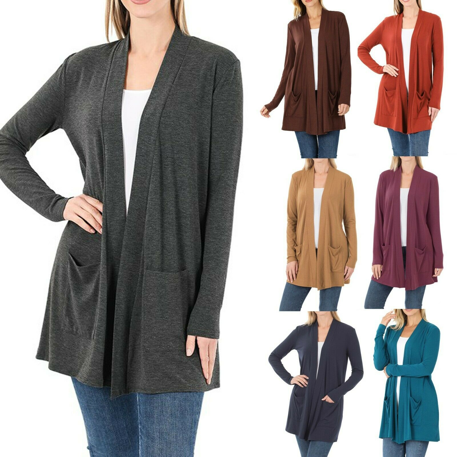 Womens Open Front Fly Away Cardigan Sweater Long Sleeve With Pockets Loose Drape Clothing, Shoes & Accessories