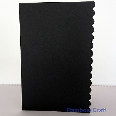 10 blank Cards & Envelopes SQUARE or C6 (9 Colors) - Scallop Wedding Invitation - C6 Black
