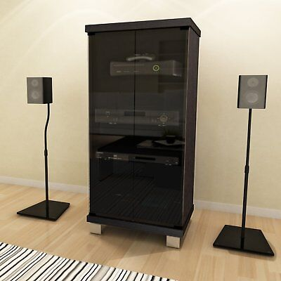 Glass Media Cabinets (NEW Wide AV Component Stand Audio Stereo Entertainment Glass Media Cabinet Rack )