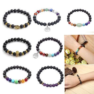 Christmas Bracelets (Chakra Gemstone Essential Diffuser Lava Bead Reiki Stretch Bracelet Xmas)