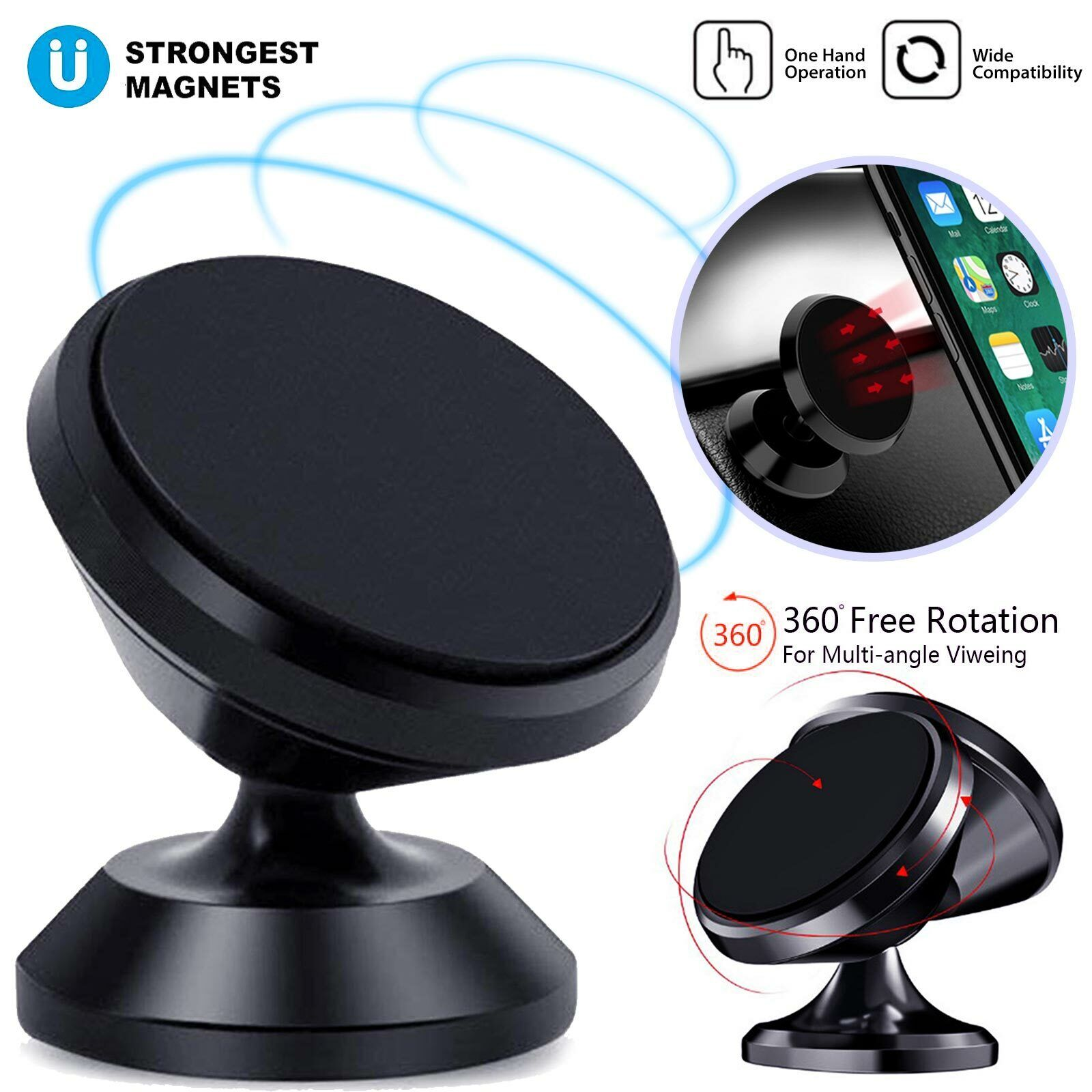 Magnetic Car Mount 360° Phone Holder Stand Dashboard For iP