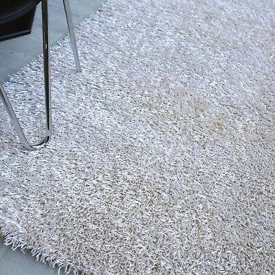 Coral Moderner Teppich (SALE ! Edler SHAGGY Dekowe CORAL perlweiß 200x290 Polyester Teppich B Ware NEU)