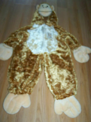 Size 2T Playful Plush Brown Monkey Chimpanzee Ape Halloween Costume Jumpsuit EUC](Monkey Costume 2t)