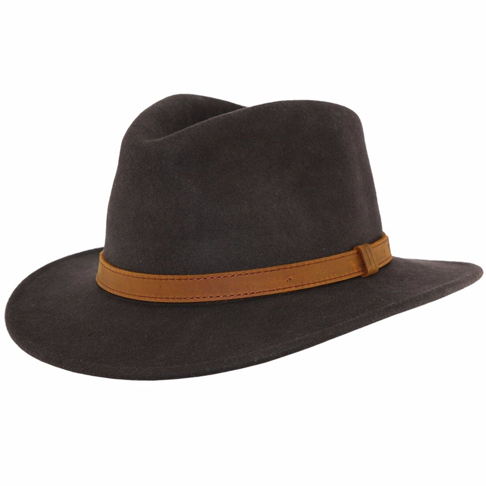 4e79b94013f Gents Crushable Camel 100% Wool Felt Fedora Trilby Hat With Leather Type  Band.