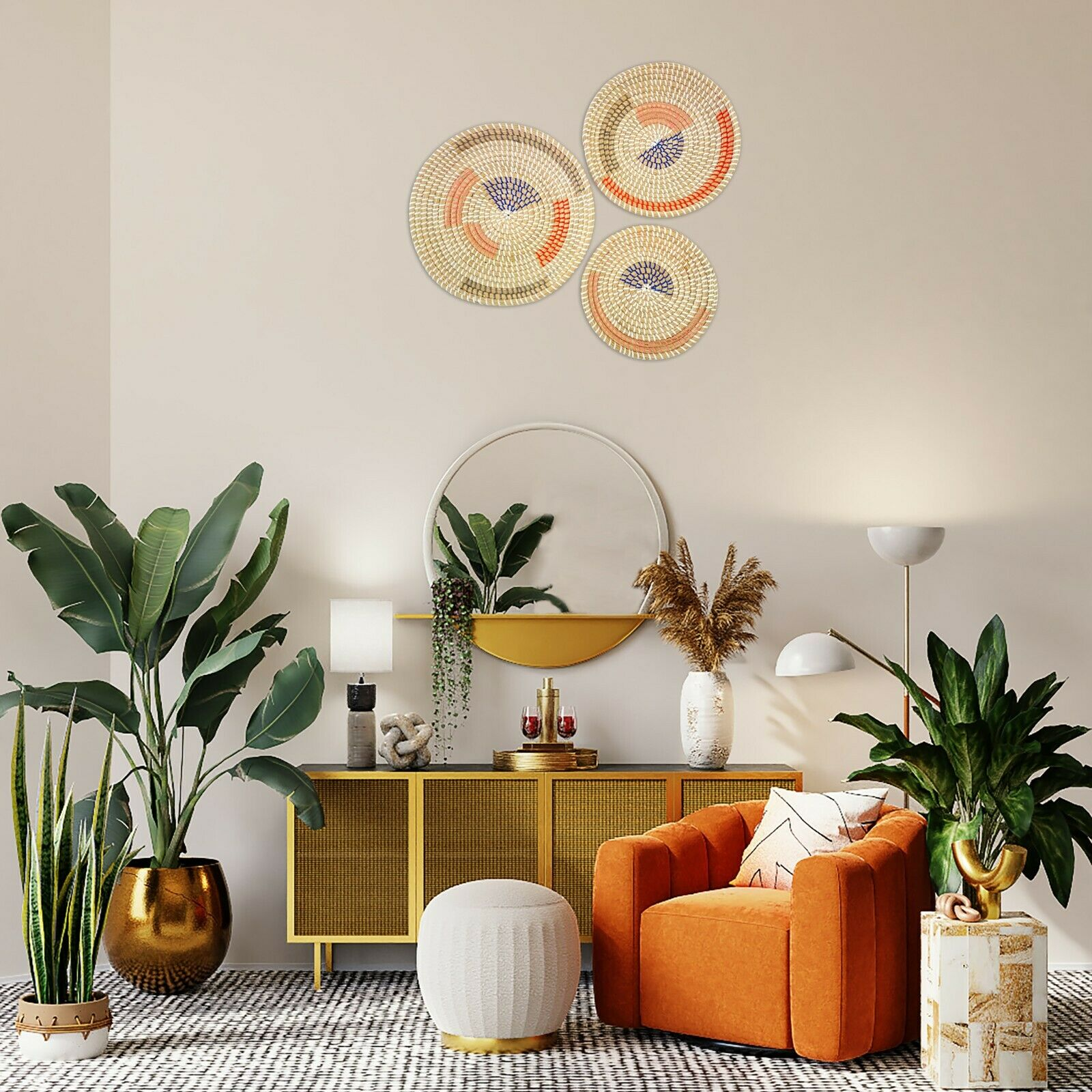 Set of 3 boho Wall Basket Decor, Woven seagrass basket, Wall