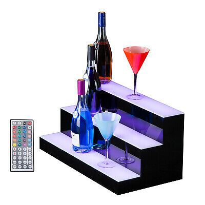 3 Step Tier 24 Led Lighted Back Bar Glowing Liquor Bottle Display Shelf Glowing