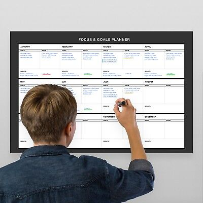 28 Erasable Wall (Erasable Wall Goals-Focus-Results Planner // 17-Inch-by -28-Inch - Black )