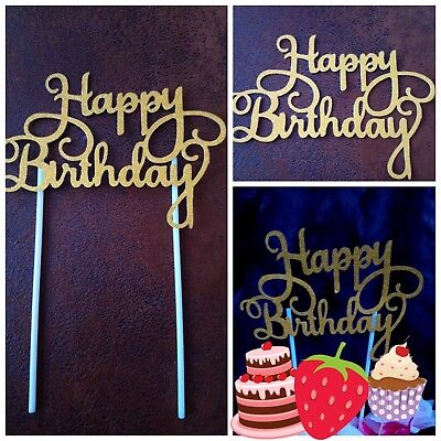 Happy Birthday Cake Topper Geburtstags Torten Stecker, Torten Deko, Kuchen Gold