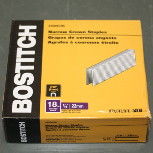 "(5000) Bostitch Narrow Crown Staples SX50357/8G, 7/32"" W x 7/8"" L, 18ga"