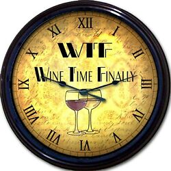 Wine Lovers Wall Clock Wine Time Finally WTF Red White Wine Glass Liquor 10
