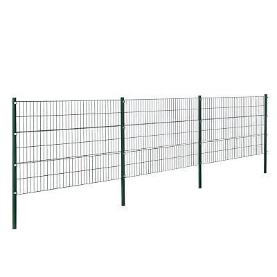[pro.tec]® Gartenzaun 6x1,2m Grün Doppelstab Zaun Set Gittermatten Metallzaun