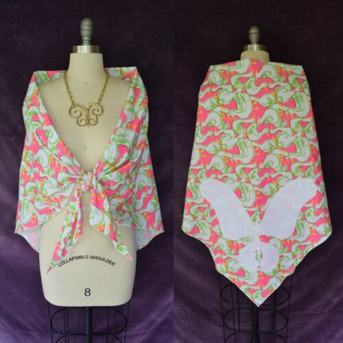 Vtg 60s  The Lilly Pulitzer novelty print dress shawl wrap cape scarf goose pink
