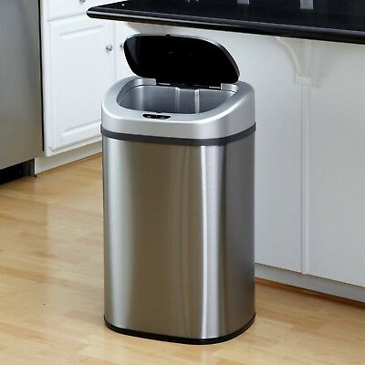 Nine Stars Infrared Touchless Automatic Stainless Steel 21.1 Gallon Trash Can