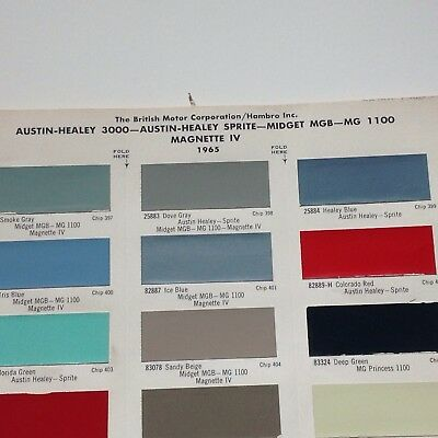 Austin Healey, Sprite, MG,Sunbeam Paint Color Chips 1965